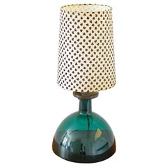 Green Glass Table Lamp by Per Lutken for Holmegaard, 1970s
