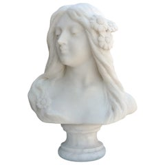Art Nouveau Carved Alabaster Bust of Young Woman, circa 1890