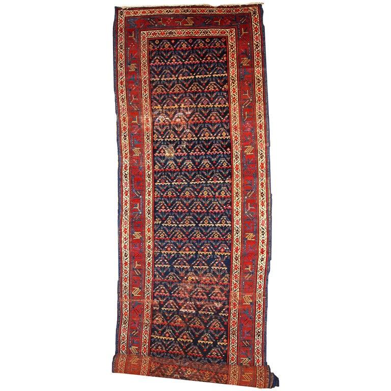 Handmade Antique Kurdish Style Distressed Runner, 1900s, 1B442 For Sale
