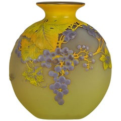 "Art Nouveau French Cameo Glass ""Rainins Soufflé Vase"" by Emile Gallé"