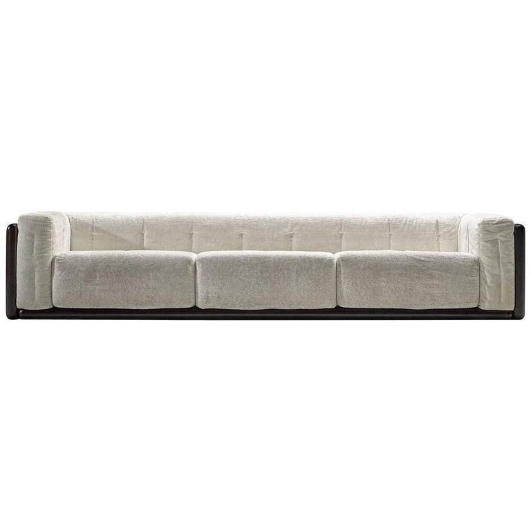 Carlo Scarpa 'Cornaro' Sofa for Simon in White Velvet For Sale
