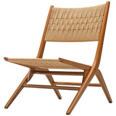 French Folding Slipper Chair with Woven Seat