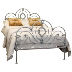 Antique Cast Iron Bed in Blue Verdigris, MD71