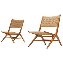 French Folding Slipper Chairs with Woven Seat