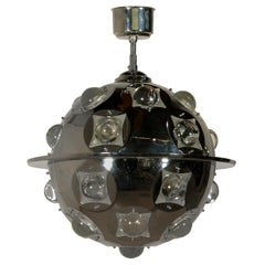 Ceiling Lamp by Oscar Torlasco Chromed Metal Glass Vintage, Italy, 1960s