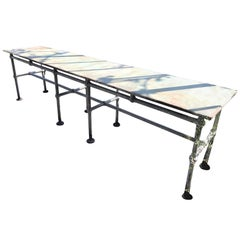 Iron Conservatory Table,Geometric Design