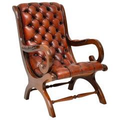 Antike Regency Style Leder und Mahagoni Sessel