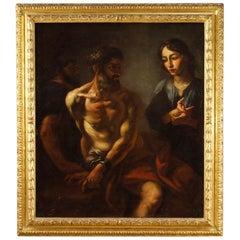 17th Century Oil on Canvas Italian Biblical Painting Giuseppe Unveils the Dreams