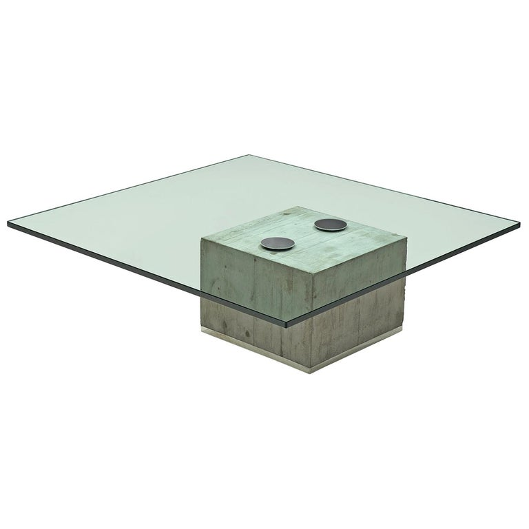 Sergio Giorgio Saporiti Modern Coffee Table With Concrete And Gl