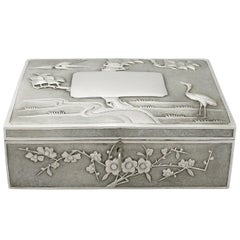 Antique Chinese Export Silver Locking Box