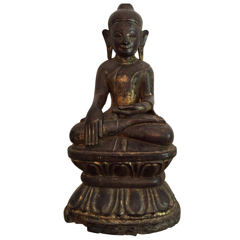 Burmese Wooden Buddha, 18th Century For Sale