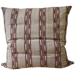 Striped Ikat Ticking Floor Pillow, French, 19th Century