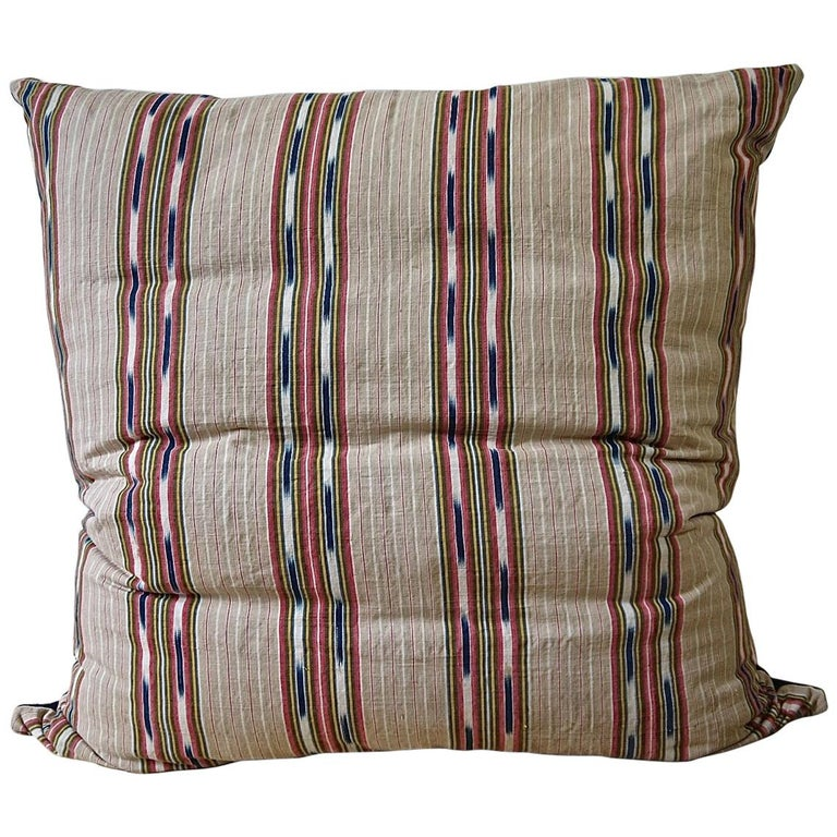 Striped Ikat Ticking Floor Pillow, French, 19th Century For Sale