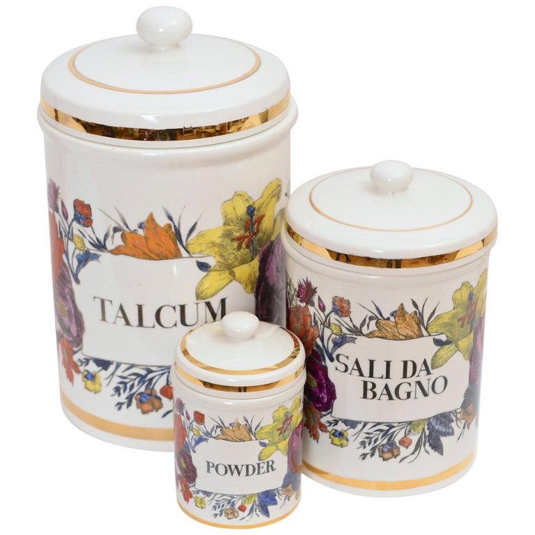 Piero Fornasetti Vintage Ceramic Storage Jars, Italy, circa 1960 For Sale