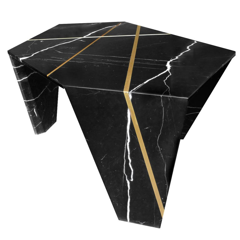Planar Sculptural Black Marble Cocktail Table with Inlaid Bronze For Sale