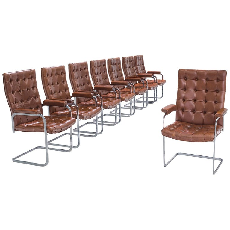 Robert Haussmann for De Sede Set of Eight Leather Chairs  For Sale