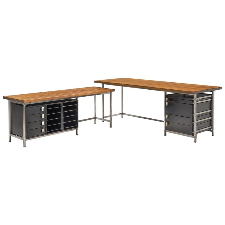 Very Rare Jules Wabbes Executive Corner Desk in Wenge For Sale