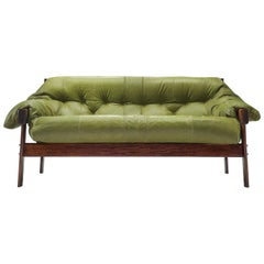 Percival Lafer Brazilian Sofa with Green Leather