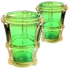 Pair of Large Green & Gold Murano Glass Vases, Mid-Century Modern Barbini Style