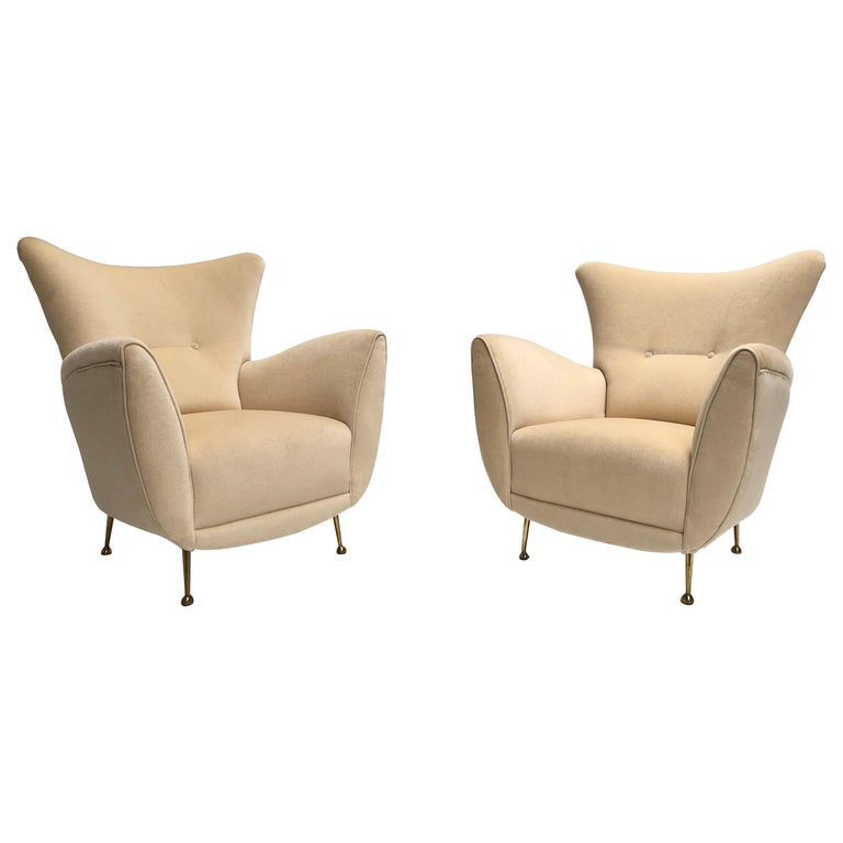 Sculptural Form Lounge Chairs, Mohair Fabric with Brass Legs, ISA, Italy, 1950 For Sale