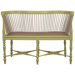 Late 19th Century French Louis XVI Painted and Caned Small Bench