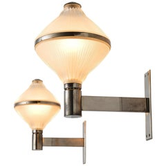 Studio BBPR Set of Two Chrome and Opaline Wall Lights