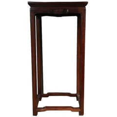 Chinoise Wood Pedestal Hand Carved in Mahogany Color Finish