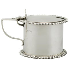 1918 Antique English Sterling Silver Drum Mustard Pot