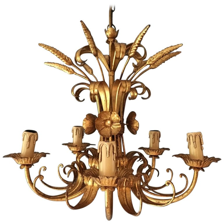 French Wheat Sheaf Crown Chandelier, circa 1950s For Sale