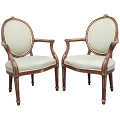 Pair of Early 20th Century Mahogany Open Armchairs