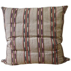 Striped Ikat Ticking Floor Pillow French 19th Century