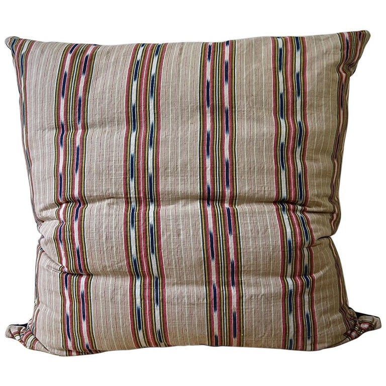Striped Ikat Ticking Floor Pillow French 19th Century For Sale