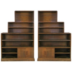 Pair of 1940s Walnut Skyscraper Bookcases