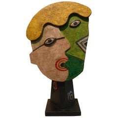 Mid-Century Wooden Face Sculpture of Two People Talking