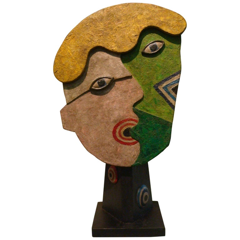 Mid-Century Wooden Face Sculpture of Two People Talking For Sale