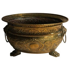 Italy Burnished Brass Planter Bowl with Lions Heads, Early 20th Century