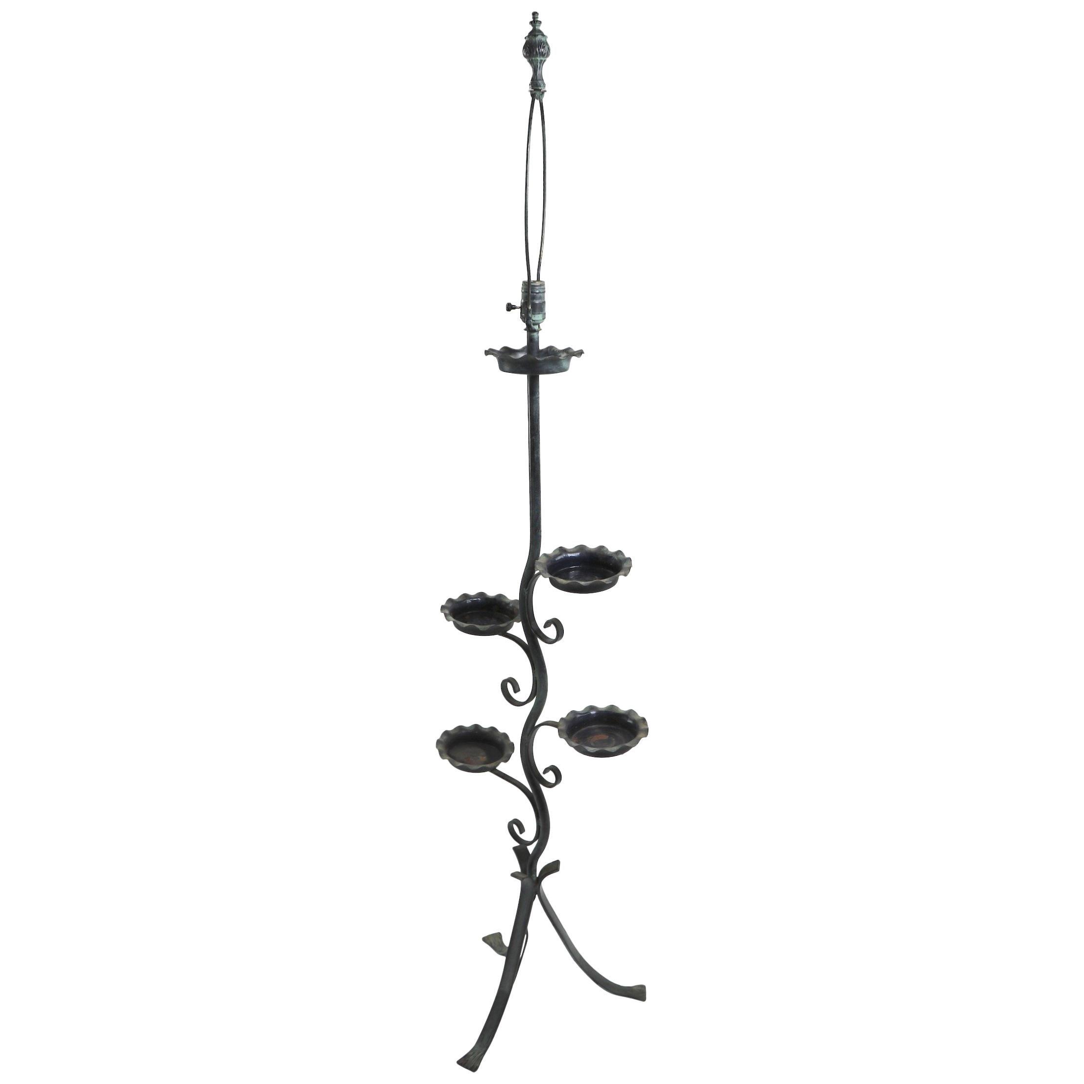 Naturalistic Plant Stand Floor Lamp attributed to Salterini