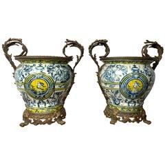 Pair of Italian Majolica Urns