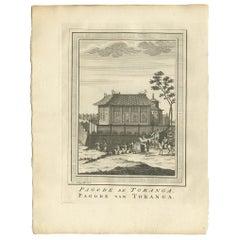 Antique Print of the Toranga Pagoda by Van Schley, 1758