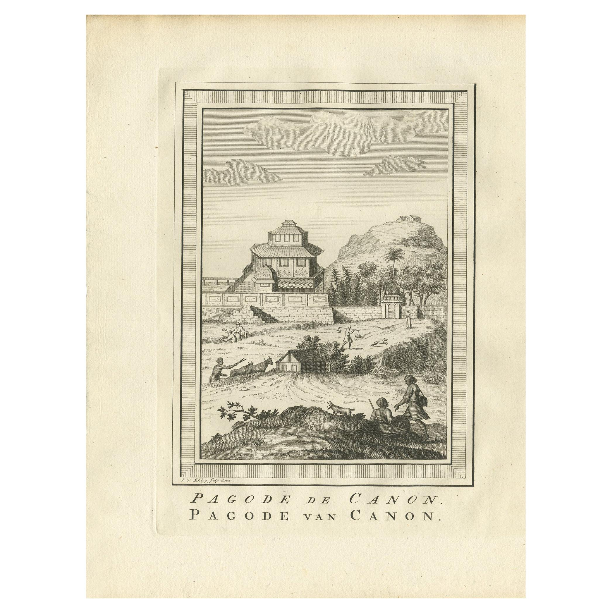Antique Print of the Canon Pagoda by Van Schley, '1758'