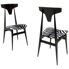 Pair of Zebra Patterned Velvet Side Chairs with Ebonized Wood Frame Italy, 1950s