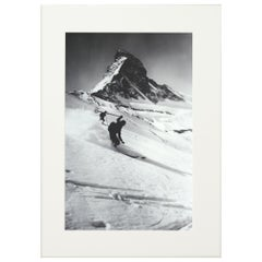 Alpine Ski Photograph 'Matterhorn & Skiers', Taken from Original 1930s Photo