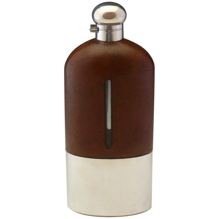 Very Large Leather and Silver Plate Hip Flask, circa 1910 For Sale