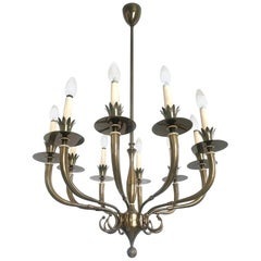 Ten-Arm Brass Chandelier Attributed to Gio Ponti and Emilio Lancia, Italy, 1940s