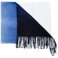 Handloom AZURE  Indigo Ombre Throw / Blanket in Merino Cashmere