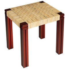 Red Aluminium Stool with Lapping Cane Seating from Anodised Wicker Collection