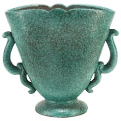 1930s Large Turquoise Vase by Marcel Noverraz