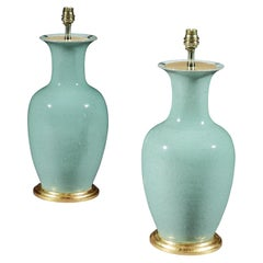 Pair of 19th Century Qing Dynasty Celadon Vases