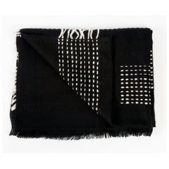 Classic Artisan WALNUT BLACK Yak Throw / Blanket Handwoven & Hand Embroidered
