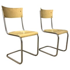 1931, Mart Stam for Thonet, Set of Light Yellow Wooden S43